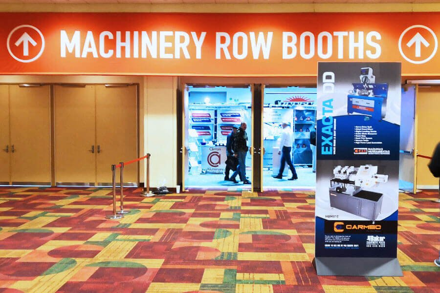 The machinery row booths entrance at the PRI 2018