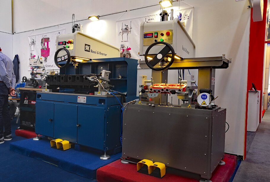 The PEG stand with the RS08L and RS993 valve seat cutting machines