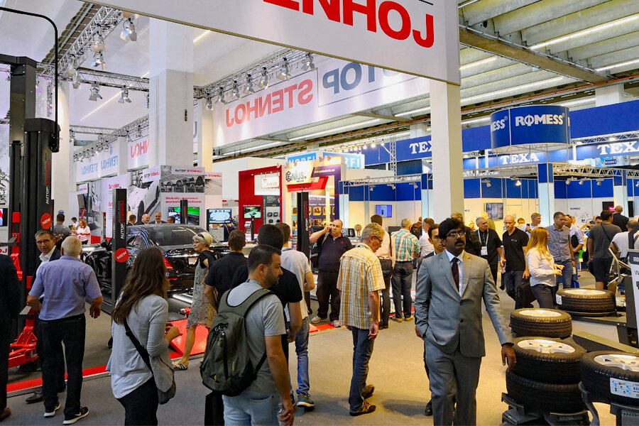 The interior of Pavilion 8 at Automechanika 2018, specific for garage equipment and machinery for auto repair shops