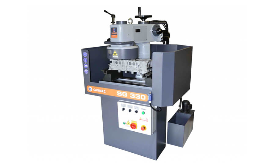 Carmec SG330 head resurface machine can be mounted with either grinding stones or PCD/CBN and is ideal for cylinder head resurfacing