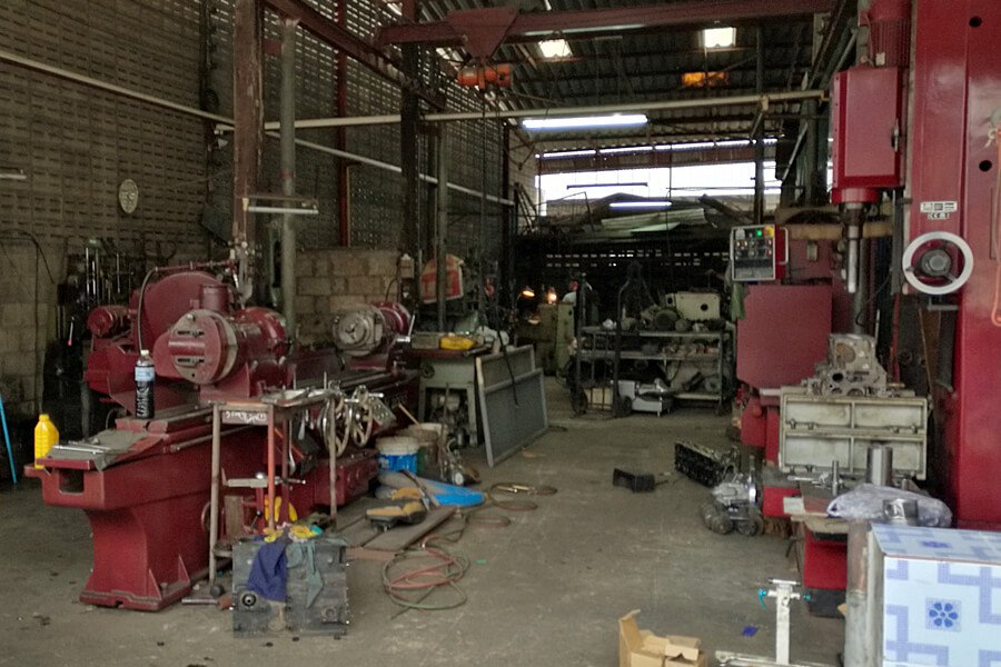 Inner view of the firs engine rebuilding workshop in Sukhothai