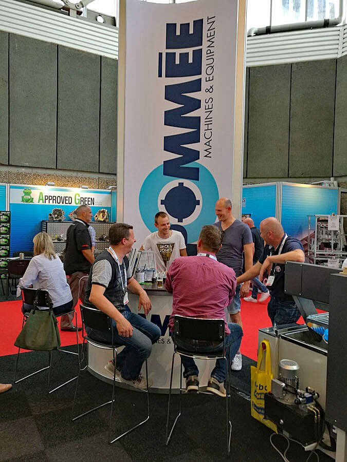 The stand of Pommèe Machines and Equipment crowded with visitors