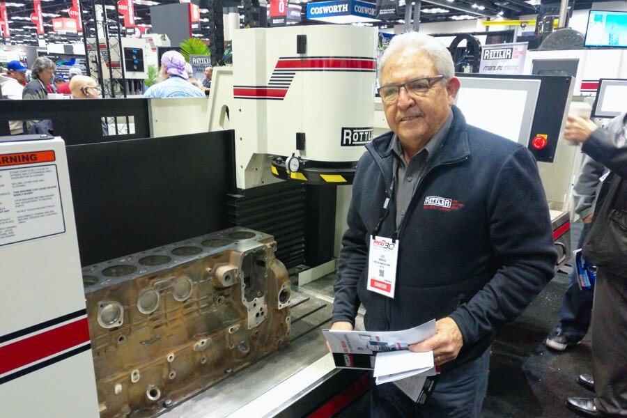 The technician Luis Rodriguez at the PRI Show with the Rottler S85A and S86A CNC Automatic Surfacing Machines