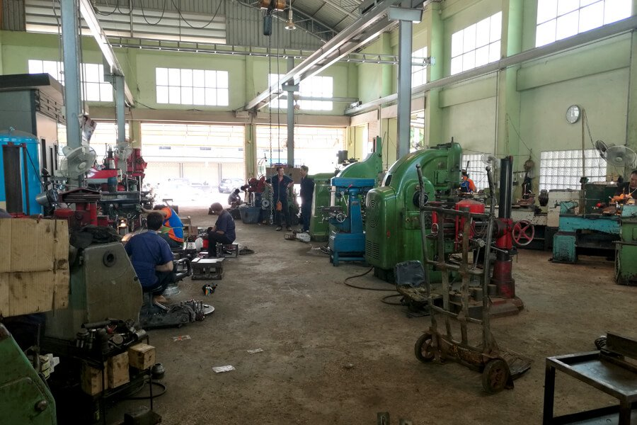 Inner view of engine rebuilder workshop Ket Mongkol