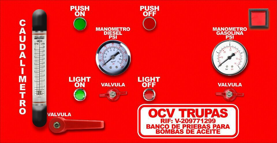 Control panel of the oil and diesel fuel injection test bench